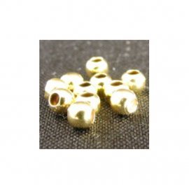 Beads Sterling Silver Goldplated 100 / pack