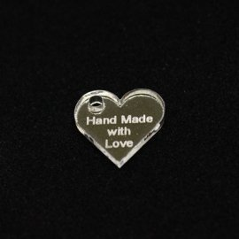 "Plexi Heart shaped Tag ""Hand Made"""